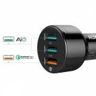 AUKEY CC-T11 Quick Charge 3.0 Mini USB Car Charger w/ 3 Ports - Black