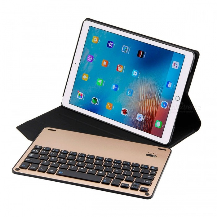 Backlight Keyboard with PU Case for 2017 New IPAD, Air, Air2 - GoldenIpad Keyboards<br>Form  ColorGoldenModel2003202Quantity1 DX.PCM.Model.AttributeModel.UnitMaterialAluminum Alloy+PU+ABSShade Of ColorGoldCompatible ModelsIPAD AIR,Others,IPAD AIR 2,2017 New IPAD / Pro 9.7Supports SystemiOSConnectionBluetoothBluetooth VersionBluetooth V3.0Keys64Operating Range10 DX.PCM.Model.AttributeModel.UnitPowered ByBuilt-in BatteryBuilt-in Battery Capacity 450 DX.PCM.Model.AttributeModel.UnitStandby Time30 DX.PCM.Model.AttributeModel.UnitCharging Time2-3 DX.PCM.Model.AttributeModel.UnitWorking Time250 DX.PCM.Model.AttributeModel.UnitPacking List1 x Keyboard with PU Case1 x Charging Cable1 x Manual<br>