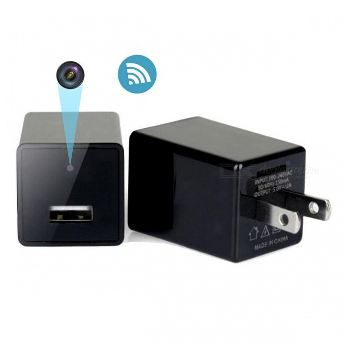 ENKLOV Wifi USB Wall Charger with Hidden Camera Black Z29(US)