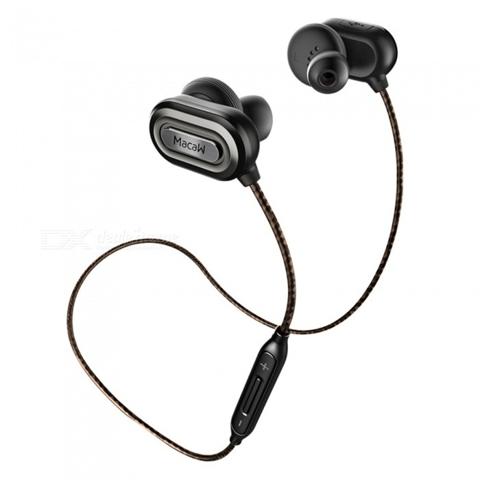 MACAW IPX4 Sweatproof Bluetooth V4.1 Sports Earphone with MIC - SilverHeadphones<br>Form  ColorBlack + SilverBrandOthers,MACAWModelT1000MaterialABS + TPEQuantity1 DX.PCM.Model.AttributeModel.UnitConnectionBluetoothBluetooth VersionBluetooth V4.1Bluetooth ChipCSR8645Operating Range10MConnects Two Phones SimultaneouslyYesCable Length60 DX.PCM.Model.AttributeModel.UnitLeft &amp; Right Cables TypeEqual LengthHeadphone StyleBilateral,Earbud,In-EarWaterproof LevelIPX4Applicable ProductsUniversalHeadphone FeaturesHiFi,English Voice Prompts,Long Time Standby,Noise-Canceling,Volume Control,With Microphone,For Sports &amp; ExerciseRadio TunerNoSupport Memory CardNoSupport Apt-XYesChannels2.0SNR98dBSensitivity108±3dBTHDFrequency Response20-20000HzImpedance32 DX.PCM.Model.AttributeModel.UnitDriver Unit12mm * 2pcsBattery TypeLi-polymer batteryBuilt-in Battery Capacity 80 DX.PCM.Model.AttributeModel.UnitStandby Time170 DX.PCM.Model.AttributeModel.UnitTalk Time3 DX.PCM.Model.AttributeModel.UnitMusic Play Time6 DX.PCM.Model.AttributeModel.UnitPower AdapterUSBPower Supply5V 1ACertificationFCCPacking List1 x Macaw T1000 In-ear Earphone1 x Pair of Earplugs Cover (L)1 x Pair of Earplugs Cover (M)1 x Pair of Earplugs Cover (S) 1 x Carry Pouch1 x Micro USB charging cable<br>