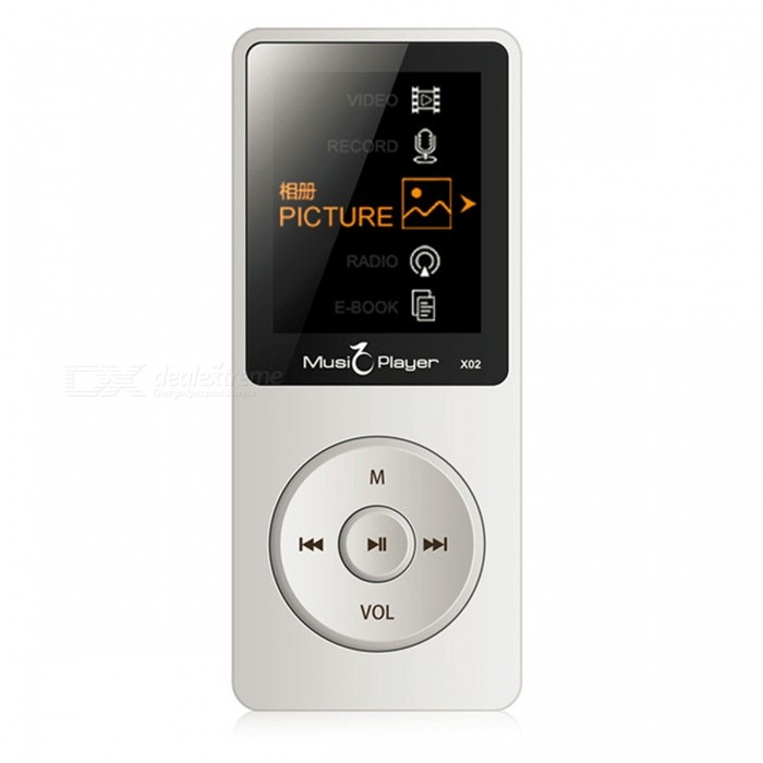 X02 MP3 Player Built-in Speaker 1.8 Inch Screen - White (8GB)