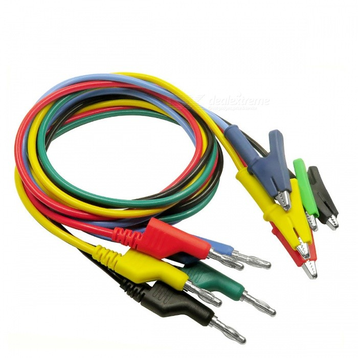 P1037 Banana Plug to Crocodile Alligator Clip Test Probe Lead (5 PCS)