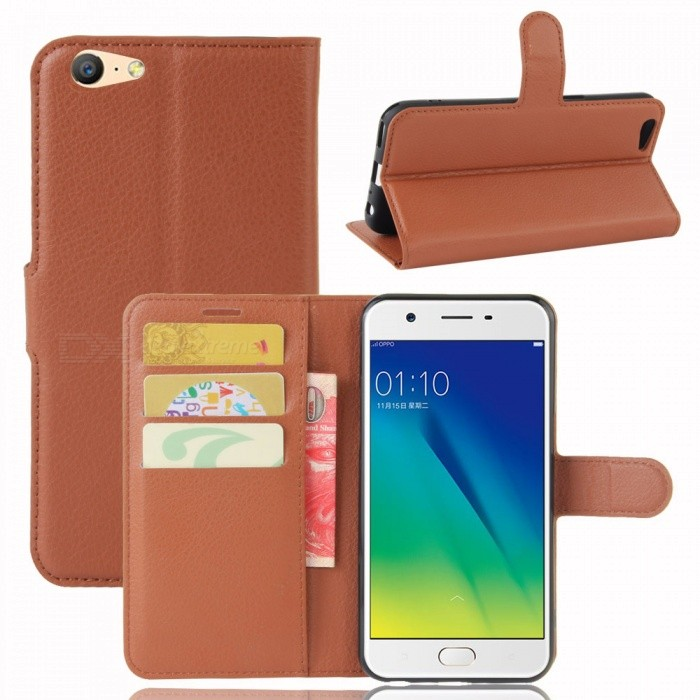Lichee Pattern Protective Case for OPPO A57 Currenc OPPO A39 - BrownLeather Cases<br>Form  ColorBrownModelN/AMaterialPUQuantity1 DX.PCM.Model.AttributeModel.UnitShade Of ColorBrownCompatible ModelsOPPO A57 Currenc OPPO A39FeaturesAnti-slip,Dust-proof,Shock-proof,Abrasion resistance,Easy-to-remove,Holder functionPacking List1 x Case<br>