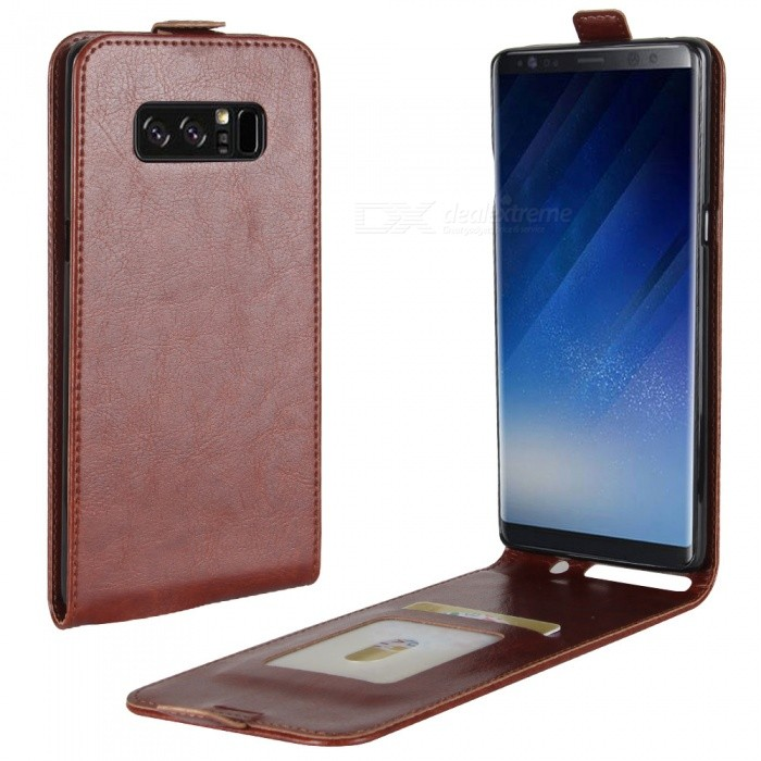 Up-Down Flip Open Protective PU Case for Samsung Galaxy NOTE8 - BrownLeather Cases<br>Form  ColorBrownModelN/AMaterialPUQuantity1 DX.PCM.Model.AttributeModel.UnitShade Of ColorBrownCompatible ModelsSamsung Galaxy NOTE8FeaturesAnti-slip,Dust-proof,Shock-proofPacking List1 x Case<br>