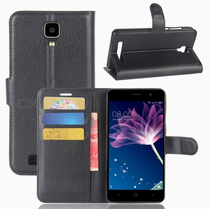 Lychee Pattern Flip-Open PU Case for  Doogee x10 - BlackLeather Cases<br>Form  ColorBlackModelN/AMaterialPUQuantity1 DX.PCM.Model.AttributeModel.UnitShade Of ColorBlackCompatible ModelsDoogee x10FeaturesAnti-slip,Dust-proof,Shock-proof,Abrasion resistance,Easy-to-remove,Holder functionPacking List1 x Case<br>