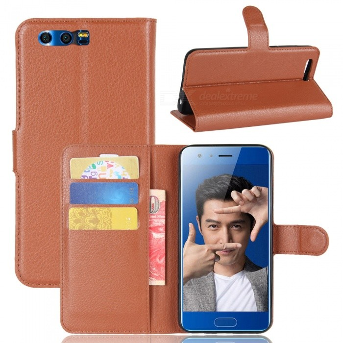 Lychee Pattern Flip-Open PU Case for HUAWEI Honor 9 - BrownLeather Cases<br>Form  ColorBrownModelN/AMaterialPUQuantity1 DX.PCM.Model.AttributeModel.UnitShade Of ColorBrownCompatible ModelsHUAWEI Honor 9FeaturesAnti-slip,Dust-proof,Shock-proof,Abrasion resistance,Holder functionPacking List1 x Case<br>