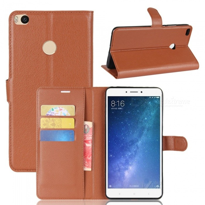 Lychee Pattern Flip-Open PU Case for XIAOMI MAX 2 - BrownLeather Cases<br>Form  ColorBrownModelN/AMaterialPUQuantity1 DX.PCM.Model.AttributeModel.UnitShade Of ColorBrownCompatible ModelsXIAOMI MAX 2FeaturesAnti-slip,Dust-proof,Shock-proof,Abrasion resistance,Holder functionPacking List1 x Case<br>