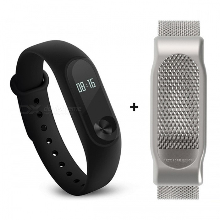 Xiaomi 0.42 Mi Band 2 Smart Wristband with Silver Steel Mesh StrapSmart Bracelets<br>Form  ColorBlack + Silver (Steel Mesh)ModelXMSH04HMQuantity1 DX.PCM.Model.AttributeModel.UnitMaterialAluminum alloy, thermoplastic elastomerShade Of ColorBlackWater-proofIP67Bluetooth VersionBluetooth V4.0Touch Screen TypeYesOperating SystemAndroid 4.4,Android 4.4.1,Android 4.4.2,iOSCompatible OSSupport Bluetooth 4.4 Android 4 above system, iOS7.0 above systemBattery CapacityLithium polymer 70 DX.PCM.Model.AttributeModel.UnitBattery TypeLi-polymer batteryStandby Time20 DX.PCM.Model.AttributeModel.UnitOther Features0.42 OLED Display Touch ScreenCall reminder, Measurement of heart rate,Pedometer, Sleep management, SMS RemindingPacking List1 x Original Xiaomi Mi Band 2 Smartband1 x Original Wristband1 x Charger cable(15cm)1 x Chinese User Manua1 x Steel Mesh Strap<br>