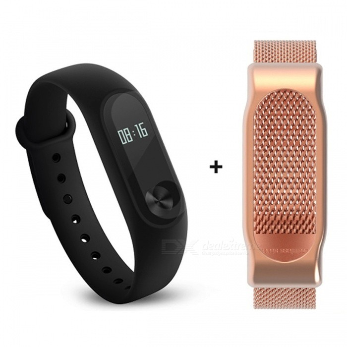 Xiaomi 0.42 Mi Band 2 Smart Wristband with Golden Steel Mesh StrapSmart Bracelets<br>Form  ColorBlack + Golden (Steel Mesh Strap)ModelXMSH04HMQuantity1 DX.PCM.Model.AttributeModel.UnitMaterialAluminum alloy, thermoplastic elastomerWater-proofIP67Bluetooth VersionBluetooth V4.0Touch Screen TypeYesOperating SystemAndroid 4.4,Android 4.4.1,Android 4.4.2,iOSCompatible OSSupport Bluetooth 4.4 Android 4 above system, iOS7.0 above systemBattery CapacityLithium polymer 70 DX.PCM.Model.AttributeModel.UnitBattery TypeLi-polymer batteryStandby Time20 DX.PCM.Model.AttributeModel.UnitOther Features0.42 OLED Display Touch Screen?Call reminder, Measurement of heart rate,Pedometer, Sleep management, SMS RemindingPacking List1 x Original Xiaomi Mi Band 2 Smartband1 x Original Wristband1 x Charger cable (15cm)1 x Chinese User Manual1 x Steel Mesh Strap<br>