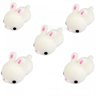 Mini Cartoon Rabbit TPR Squishy Toy, Stress Reliever Decor Gift (5PCS)