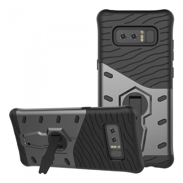 Naxtop TPU Bumper PC Cover Kickstand Case for Samsung Galaxy Note8Plastic Cases<br>Form  ColorGreyModelN/AMaterialTPU + PCQuantity1 DX.PCM.Model.AttributeModel.UnitShade Of ColorGrayFeaturesAnti-slip,Dust-proof,Shock-proof,Abrasion resistance,Holder functionCompatible ModelsSamsung Galaxy Note8Packing List1 x Case<br>
