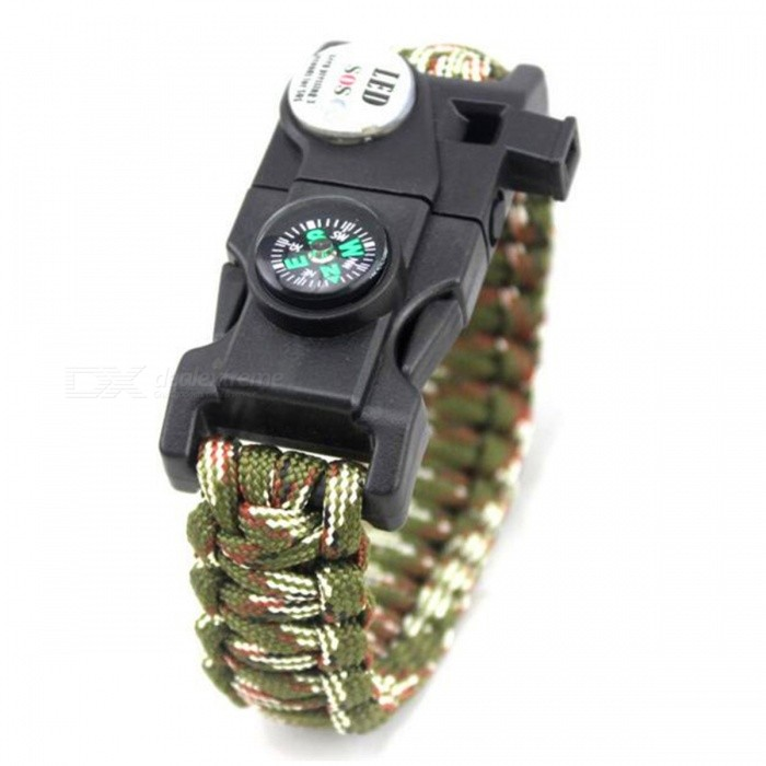 Outdoor Emergency Survival Paracord Bracelet w/ SOS LED - CamouflageFirst Aid<br>Form  ColorArmy Green CamouflageQuantity1 DX.PCM.Model.AttributeModel.UnitMaterialNylon + Metal + PlasticBest UseFamily &amp; car camping,Mountaineering,TravelPacking List1 x Bracelet<br>