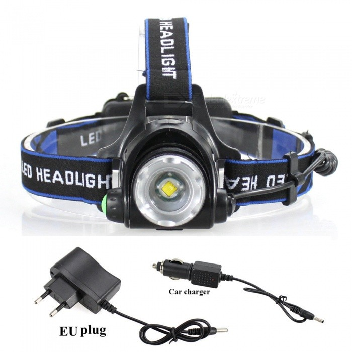 ZHAOYAO XM-L T6 Waterproof LED 3-Mode Zooming Rechargeable HeadlightHeadlamps<br>Form  ColorBlack + Silver + Multi-ColoredQuantity1 DX.PCM.Model.AttributeModel.UnitMaterialAluminum alloyEmitter BrandCreeLED TypeXM-LEmitter BINT6Color BINWhiteNumber of Emitters1Working Voltage   3.7-7.4 DX.PCM.Model.AttributeModel.UnitPower Supply1 / 2 x 18650includedCurrent1.5 DX.PCM.Model.AttributeModel.UnitTheoretical Lumens2000 DX.PCM.Model.AttributeModel.UnitActual Lumens50-1500 DX.PCM.Model.AttributeModel.UnitRuntimeDepends on the battery quantities. hour DX.PCM.Model.AttributeModel.UnitNumber of Modes3Mode ArrangementHi,Low,Slow StrobeMode MemoryNoSwitch TypeClicky SwitchSwitch LocationSideLensGlassReflectorPlastic SmoothBand Length20 DX.PCM.Model.AttributeModel.UnitCompatible Circumference40-80Beam Range50-250 DX.PCM.Model.AttributeModel.UnitPacking List1 x Headlight1 x EU charger1 x Car charger2 x18650 Lithium batteries<br>