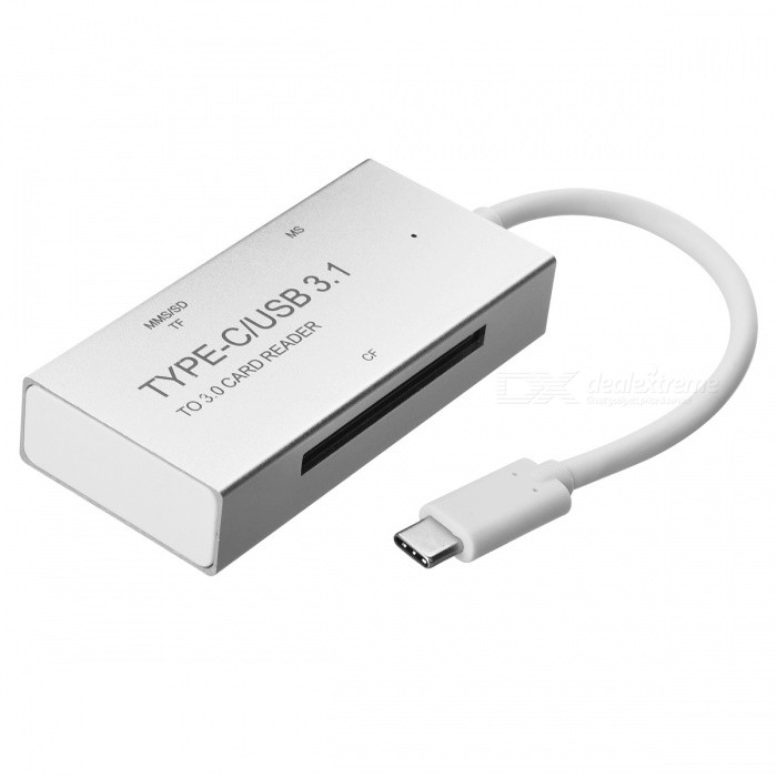 BSTUO Aluminium Alloy USB3.1 Type-C to TF/SD/MS/CF Card Reader -SilverLaptop/Tablet Cable&amp;Adapters<br>Form  ColorSilverModelN/AQuantity1 DX.PCM.Model.AttributeModel.UnitShade Of ColorSilverMaterialAluminium alloyInterfaceOthers,USB3.1 type-cTypeLaptopsCompatible BrandAPPLE,Dell,HP,Toshiba,Acer,Lenovo,Samsung,MSI,Sony,IBM,Asus,ThinkpadCompatible ModelDevices with USB3.1 Type-C portTransmission Rate10 DX.PCM.Model.AttributeModel.UnitPacking List1 x Type-C Card Reader<br>