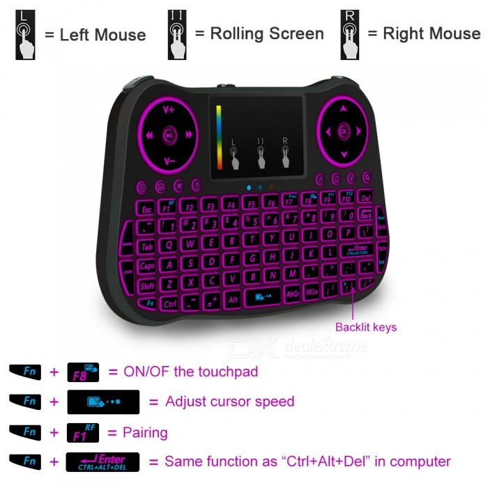 MT08 2 4GHz Mini Wireless Keyboard with 7-Color Backlit - Black