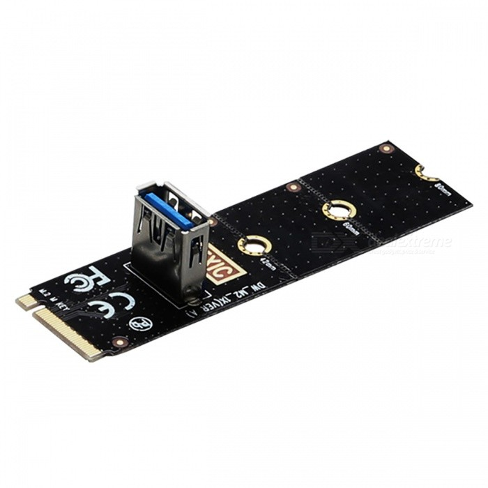 DIEWU NGFF M2 to PCI-E Riser Card Adapter CardForm  ColorBlackQuantity1 pieceMaterialCompositesPacking List1 x M.2 NGFF to PCIe 1X Riser Card<br>