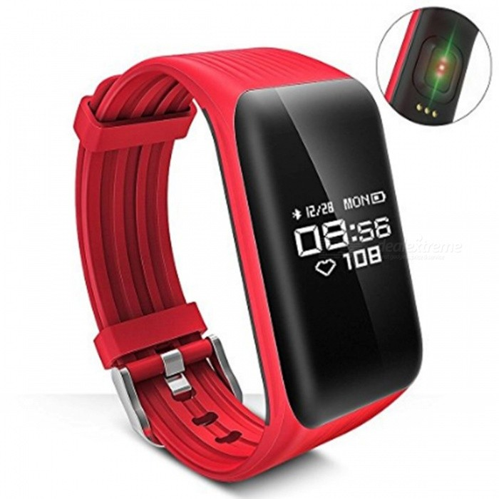 K1 Smart Bracelet Bluetooth Waterproof Heart Rate Monitor - RedSmart Bracelets<br>Form  ColorRed + BlackQuantity1 DX.PCM.Model.AttributeModel.UnitMaterialABSShade Of ColorRedWater-proofIP68Bluetooth VersionBluetooth V4.0Touch Screen TypeYesCompatible OSAndroid 4.0 / iOS 8.0 and above systemBattery Capacity105 DX.PCM.Model.AttributeModel.UnitBattery TypeLi-polymer batteryStandby Time5-7 DX.PCM.Model.AttributeModel.UnitPacking List1 x K1 Fitness Wristband1 x User Manual<br>