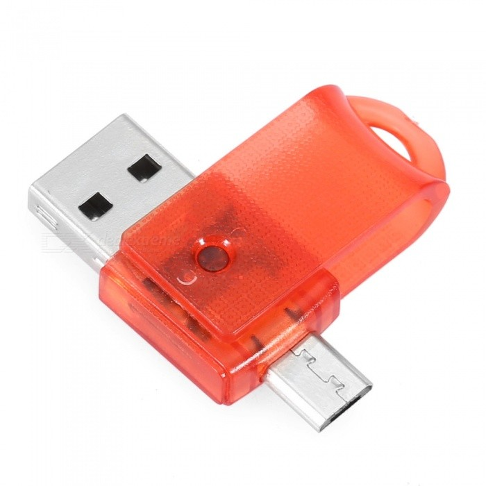 Rotating Micro USB OTG MicroSD TF Card Reader - RedCard Readers<br>Form  ColorRedModelN/AQuantity1 DX.PCM.Model.AttributeModel.UnitShade Of ColorRedMaterialPlastic + Aluminium alloyInterfaceUSB 2.0Supports Card TypeSD,MicroSD (TF)Max. Memory Supported128GBSlot Number3Support card quantity simultaneously2Powered ByUSBIndicator LightNoSupports SystemOthers,Android,Mac OS,Windows 2000,Windows 7,Windows 8,Windows 98,Windows ME,Windows XPPacking List1 x Card Reader<br>