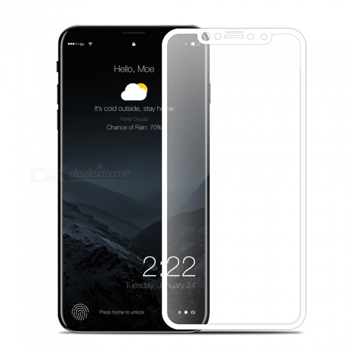 Adeline 0.2mm 9H 3D Full Cover Screen Protector pro IPHONE X - bílá