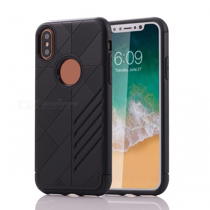 Mini Smile Dual Layer PC TPU Protective Combined Case for IPHONE XPlastic Cases<br>Form  ColorBlackModelI8-JJQuantity1 DX.PCM.Model.AttributeModel.UnitMaterialPC + TPUCompatible ModelsOthers,IPHONE XDesignSolid ColorStyleBack CasesPacking List1 x Case<br>