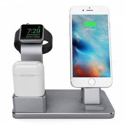 Metal 4-in-1 Apple Watch AirPods IPHONE Charging Stand - Dark Grey