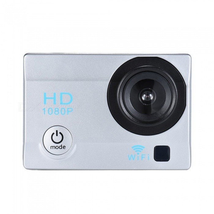 2 Inch LCD 12MP 1080P Wi-Fi Action Sports Camera with 32GB Memory - Silver
