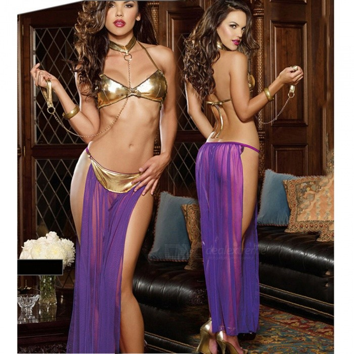 Sexy Three-Piece Perspective Sexy Underwear Lingerie - PurpleSexy Lingerie<br>Form  ColorGolden + PurpleSizeFree SizeQuantity1 DX.PCM.Model.AttributeModel.UnitShade Of ColorPurpleMaterialImitation LeatherStyleUltra SexyShoulder WidthUnlimited DX.PCM.Model.AttributeModel.UnitChest Girth75-95 DX.PCM.Model.AttributeModel.UnitTotal Length70 DX.PCM.Model.AttributeModel.UnitPacking List1 x Bra1 x Skirt1 x Bracelet (collar with hand ring)<br>