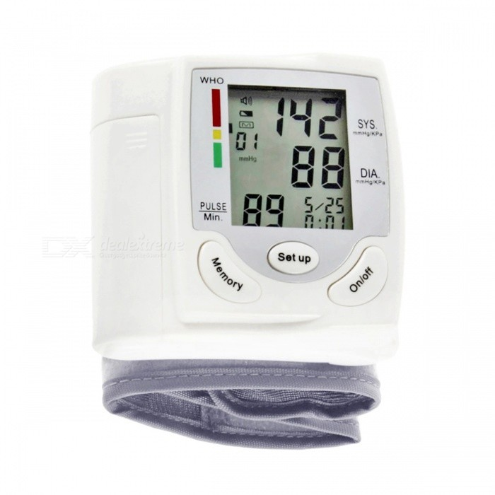 Sphygmomanometer-Wrist-Cuff-Arm-Blood-Pressure-Monitor-White