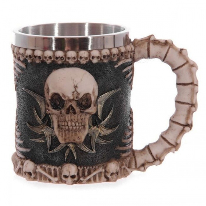 Buy 230ML Creative 3D Stereoscopic Skull Face Pattern Water Glass Cup with Litecoins with Free Shipping on Gipsybee.com