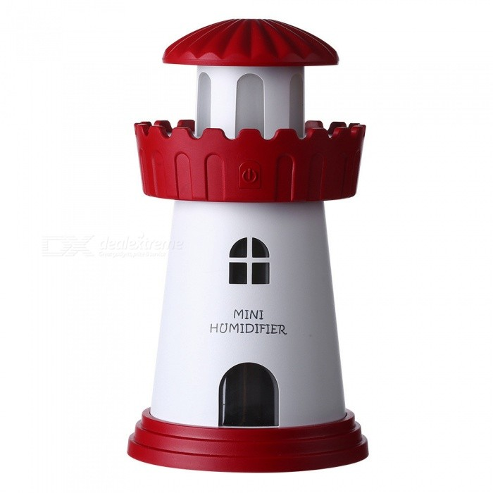 Buy USB Mini Lighthouse Style Humidifier Creative Night Light - Red with Litecoins with Free Shipping on Gipsybee.com