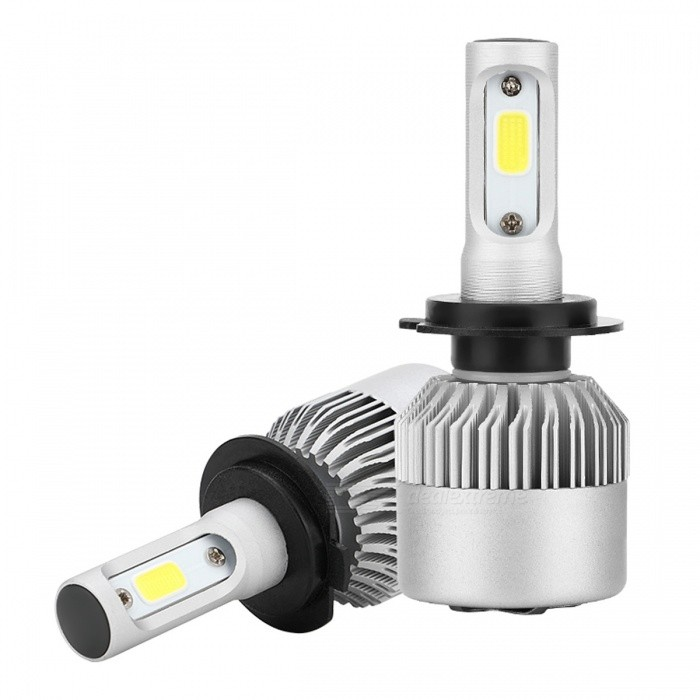 Joyshine H7 60W 6000LM COB 6000K LED Conversion Headlight BulbHeadlights<br>Color BINCold White (H7)ModelS2-H7Quantity1 DX.PCM.Model.AttributeModel.UnitMaterialAluminum PCB and PA66 + 30% GF PlasticForm  ColorSilverEmitter TypeLEDChip BrandOthers,PHILIPSChip Type#Total Emitters4PowerOthers,60W/setColor Temperature6000 DX.PCM.Model.AttributeModel.UnitActual Lumens6000 DX.PCM.Model.AttributeModel.UnitRate VoltageDC9-30VWaterproof FunctionYesConnector TypeH7ApplicationHeadlamp,FoglightCertificationCE ROHS ISO9002Packing List2 x H7 PHILIPS High Power LED Headlights Bulbs<br>
