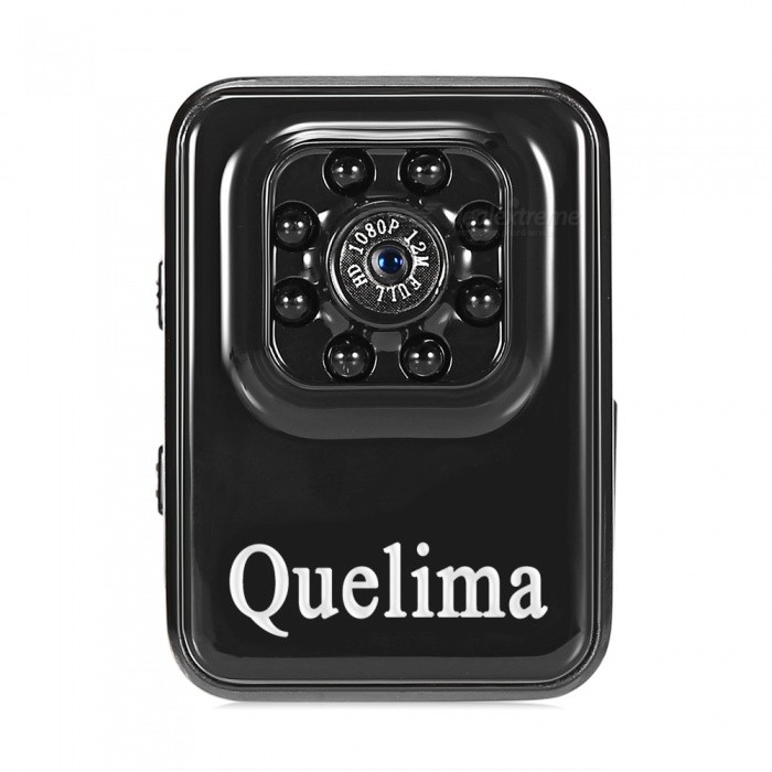 Quelima Mini HD 1080P DVR with 8-LED Infrared Night Vision - Black