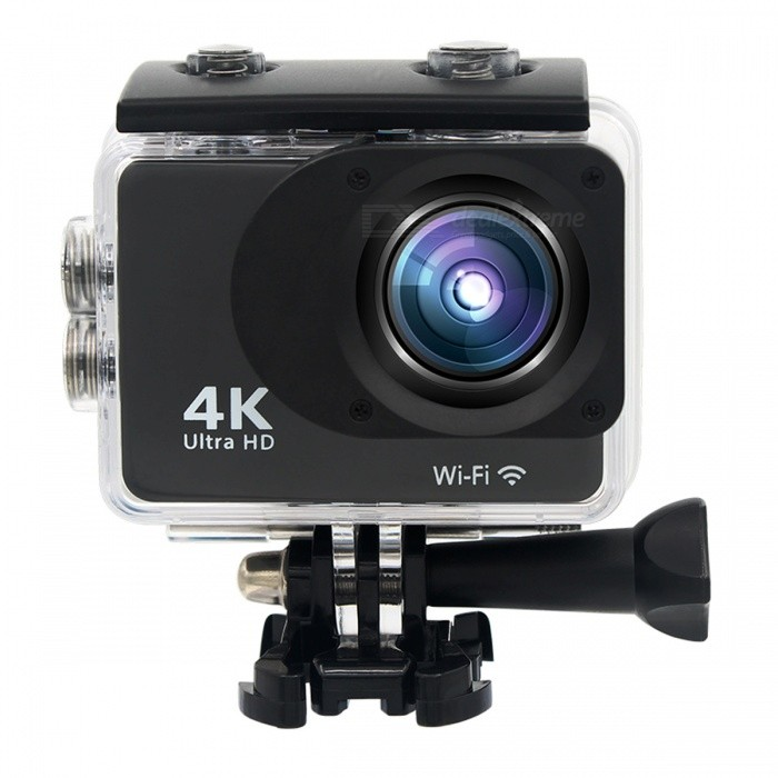 Mini 30m Waterproof 4K Full HD Wi-Fi Sports Camera - BlackSport Cameras<br>Form  ColorBlackShade Of ColorBlackMaterialABS + PVC + PCQuantity1 DX.PCM.Model.AttributeModel.UnitImage SensorCMOSAnti-ShakeYesFocal Distance2M 5M/8M/12M/16 DX.PCM.Model.AttributeModel.UnitFocusing Range(2M 5M/8M/12M/16MEffective Pixels4K 25fps, 2.7K 30fps, 1920*1080P 60fps, 1280*720p 60fps, 1280*720p 30fpsImagesJPEGStill Image Resolution12M(4032 x 3024), 10M(3648 x 2736), 8M(3264 x 2448)/ 6M(2000 x 3000), 5M(2592 x 1994), 3M(2048 x 1536), 2MHD(1920 x 1080), VGA(640 x 480)VideoMOVVideo Resolution4K 25fps, 2.7K 30fps, 1920 x 1080P 60fps, 1280 x 720p 60fps, 1280 x 720p 30fpsVideo Frame Rate30,60Cycle RecordYesISONoExposure Compensation3;+1.0;+2Supports Card TypeSDSupports Max. Capacity32 DX.PCM.Model.AttributeModel.UnitBuilt-in Memory / RAMNoLCD ScreenYesScreen Size2.0 DX.PCM.Model.AttributeModel.UnitBattery Measured Capacity 900 DX.PCM.Model.AttributeModel.UnitNominal Capacity900 DX.PCM.Model.AttributeModel.UnitBattery included or notYesPacking List1 x Motion Camera1 x TF card reader1 x Battery 9 x Mount Tools4 x Bandages2 x Adhesive tapes4 x Tethers1 x Metal Tether1 x Waterproof Housing1 x Protective Back1 x Power adapter1 x USB Cable1 x Clean Cloth1 x User Manual (English)<br>