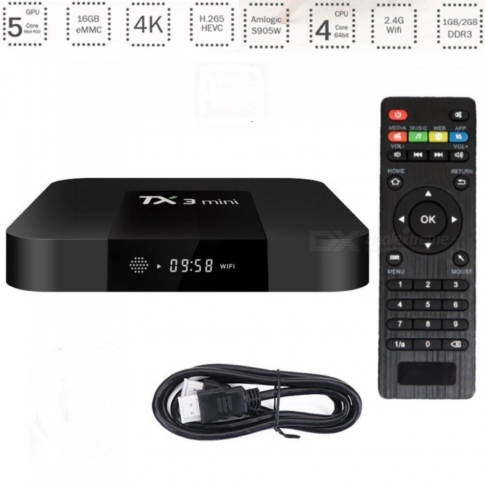 TX3 Mini S905W 2.4GHz Wi-Fi Android 7.1 TV Box with 2G, 16GB (EU Plug)Smart TV Players<br>Form  ColorBlackBuilt-in Memory / RAM2GBStorage16GBPower AdapterEU PlugModelTX3 miniQuantity1 DX.PCM.Model.AttributeModel.UnitMaterialABSShade Of ColorBlackOperating SystemOthers,Android 7.1ChipsetAmlogic S905W up to 2.0 GHzCPUOthers,Quad-core ARM Cortex-A53Processor Frequency2.0 GHzGPUMali-450 penta-core, up to 750MHz+(DVFS)Menu LanguageOthers,English, French, German, Spanish, Italian Etc. 24 LanguagesMax Extended Capacity32GBSupports Card TypeMicroSD (TF)Wi-FiBuilt-in Wi-Fi, 802.1.1b/g/nBluetooth VersionNo3G FunctionYesWireless Keyboard/Mouse2.4GAudio FormatsOthers,MP1, MP2, MP3, WMA, OGG, AAC, M4A, FLAC, APE, AMR, RA, WAVVideo FormatsOthers,4K @30fps, H.265. AVI, H.264, VC-1, MPEG-2, MPEG-4, DIVD, DIVX, Real 8 / 9 / 10, RM, RMVB, PMP, FLV, MP4, M4V VOB, WMV, 3GP, MKVAudio CodecsDTS,AC3,FLACVideo CodecsOthers,4K, H.265, MPEG1 / 2 / 4, H.264, HD AVC, VC-1RM, RMVB, Xvid, DivX3 / 4 / 5 / 6, RealVideo8 / 9 / 10Picture FormatsOthers,JPEG / BMP / GIF / PNG / TIFFSubtitle FormatsMicroDVD [.sub],SubRip [.srt],Sub Station Alpha [.ssa],Sami [.smi]idx+subPGSOutput Resolution1080PHDMI2.0Power Supply5V / 2APacking List1 x TX3 Mini TV Box1 x Remote Controller1 x HDMI Cable1 x Power Supply 1 x Manual<br>