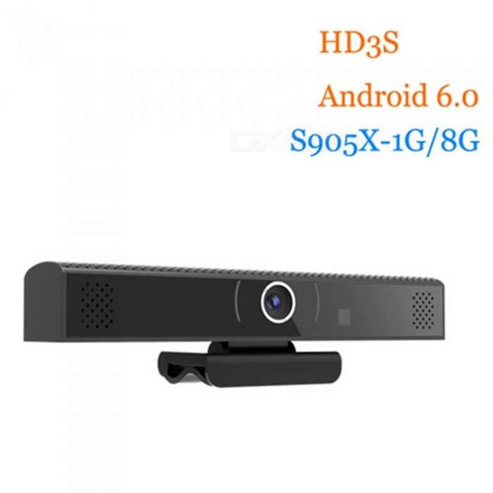 HD3S Amlogic S905X Android TV Box with 720P Camera, 1GB, 8GB (US Plug)Smart TV Players<br>Form  ColorBlackBuilt-in Memory / RAM1GBStorage8GBPower AdapterUS PlugQuantity1 DX.PCM.Model.AttributeModel.UnitMaterialABSShade Of ColorBlackOperating SystemAndroid 6.0ChipsetAmlogic S905xCPUOthers,Cortex-A53Processor Frequency2GHzGPUPenta -core ARM Mali 450 GPU up to 750MHz+Menu LanguageEnglishMax Extended Capacity128GBSupports Card TypeMicroSD (TF)Wi-FiIEEE 802.11b/g/nBluetooth VersionNo3G FunctionYesWireless Keyboard/Mouse2.4GAudio FormatsOthers,MP3, WMA, WP2, OGG, AAC, M4A, FLAC, APE, 3GP,WAV,Video FormatsOthers,2160p, 1080P decoding, Support MP4, AVI, RM, RMVB, MKV,WMV, MOV, PMP, MPEG, MPG, FLV, 3GPAudio CodecsDTS,AC3,FLACVideo CodecsOthers,4K, H.265, MPEG1 / 2/4, H.264, HD, AVC / VC-1RM / RMVB, Xvid / DivX3 / 4/5/6, RealVideo8 / 9/10Picture FormatsOthers,JPEG / BMP / GIF / PNG / TIFFSubtitle FormatsMicroDVD [.sub],SubRip [.srt],Sub Station Alpha [.ssa],Sami [.smi]idx+subPGSOutput Resolution1080PHDMI2.0Power Supply5V 2APacking List1 x HD3S Android Box 1 x Power Adapter 1 x HDMI Cable1 x Remote Control 1 x User Manual1 x OTG Cable<br>
