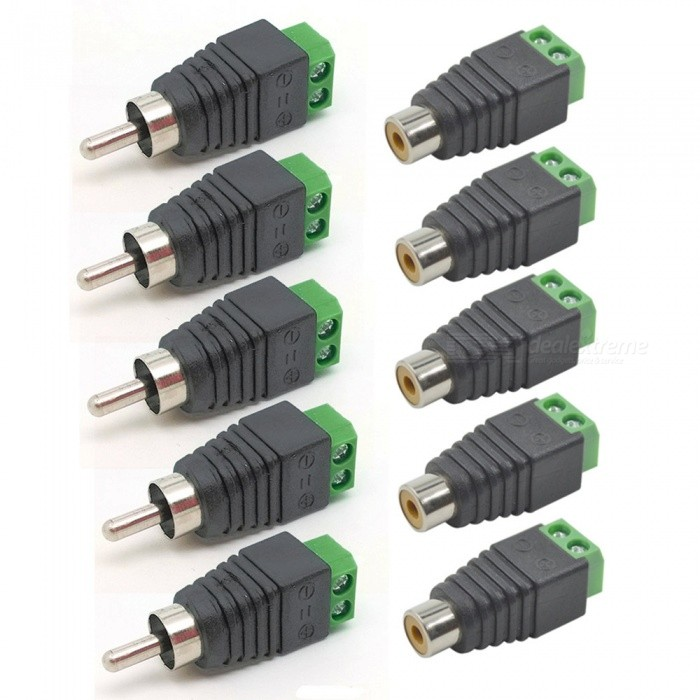 ZHAOYAO High Quality RCA Male + Female Adapters Connectors - 10PCSSwitches &amp; Adapters<br>Form  ColorGreen + Black + Multi-ColoredQuantity1 DX.PCM.Model.AttributeModel.UnitMaterialPlastic + MetalPower Range-Max. Current-Working Temperature-30--40 DX.PCM.Model.AttributeModel.UnitPacking List5 x Male Port Adapters5 x Female Port Adapters<br>