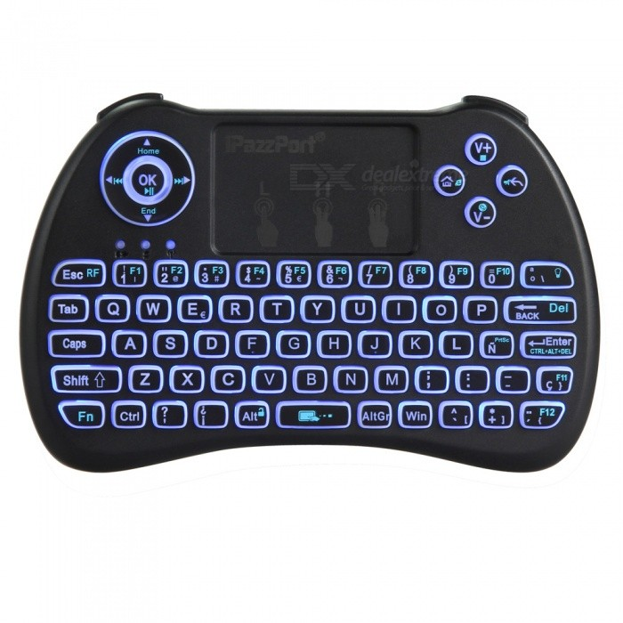 Mini Wireless Keyboard Mouse Touchpad m / Tri-Color Backlit - Spanska