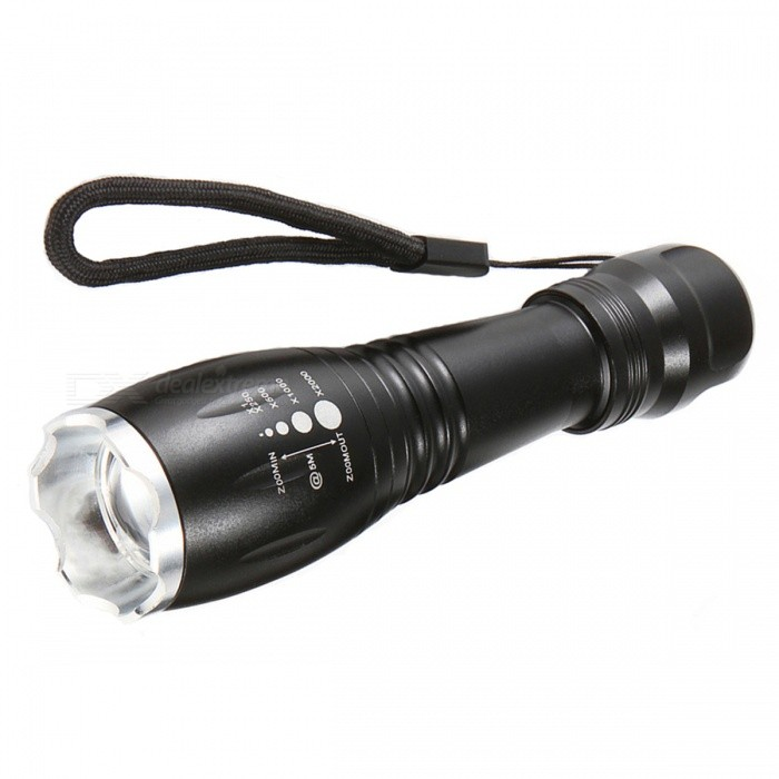 SPO Outdoor Zooming LED Strong Light Waterproof Flashlight - Black18650 Flashlights<br>Form  ColorBlackBrandOthers,N/AQuantity1 DX.PCM.Model.AttributeModel.UnitMaterialAluminium alloyOther FeaturesWaterproof,TacticalEmitter BrandCreeLED TypeXM-L2Emitter BINT6Number of Emitters1Color BINWhiteWorking Voltage   3.7 DX.PCM.Model.AttributeModel.UnitPower Supply18650Current3 DX.PCM.Model.AttributeModel.UnitOutput(lumens)201-500Theoretical Lumens300 DX.PCM.Model.AttributeModel.UnitActual Lumens250 DX.PCM.Model.AttributeModel.UnitRuntime(hours)2.1-3Runtime12 DX.PCM.Model.AttributeModel.UnitNumber of Modes5Mode ArrangementHi,Mid,Low,Slow Strobe,SOSMode MemoryNoSwitch TypeClicky SwitchSwitch LocationTail TwistyLensGlassReflectorAluminum SmoothBeam Range300-500 DX.PCM.Model.AttributeModel.UnitStrap/ClipStrap includedPacking List1 x Flashlight<br>