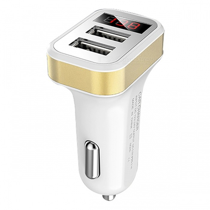 Car Charger Dual USB Interface with Digital Display - GoldenCar Power Chargers<br>Form  ColorWhite + GoldenModelYCC05Quantity1 DX.PCM.Model.AttributeModel.UnitMaterialABSInput Voltage12~24 DX.PCM.Model.AttributeModel.UnitOutput Voltage5 DX.PCM.Model.AttributeModel.UnitOutput Current2.1 DX.PCM.Model.AttributeModel.UnitApplicationFor mobile phones, tablet, camera, navigator, MP3 and other digital equipment chargingOther FeaturesOutput current: 2.1A (port 1 is 1A, port 2 is 2.1A)CertificationCEPacking List1 x Car Charger<br>