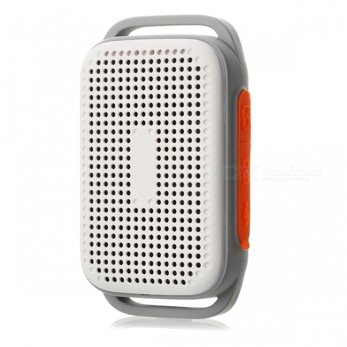 Mini Portable Bluetooth Speaker with Running Arm Belt - WhiteBluetooth Speakers<br>Form  ColorOrange + WhiteMaterialABS plastic + silica gelQuantity1 DX.PCM.Model.AttributeModel.UnitShade Of ColorOrangeBluetooth HandsfreeYesBluetooth ChipCSRBluetooth VersionBluetooth V3.0Operating Range10mTotal Power5 DX.PCM.Model.AttributeModel.UnitChannels2.0Interface3.5mm,USB 2.0MicrophoneNoSNR85dbFrequency Response150HZ~20KHZApplicable ProductsIPHONE 5,IPHONE 4,IPHONE 4SRadio TunerNoBuilt-in Battery Capacity 420 DX.PCM.Model.AttributeModel.UnitBattery TypeLi-ion batteryTalk Time4 DX.PCM.Model.AttributeModel.UnitStandby Time6 DX.PCM.Model.AttributeModel.UnitMusic Play Time3 DX.PCM.Model.AttributeModel.UnitPacking List1 x Bluetooth speaker<br>