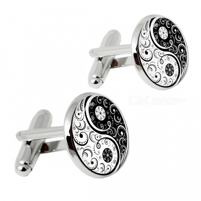 Men's Vintage Alloy Cufflinks - Silver + Black (Pair) for sale in Bitcoin, Litecoin, Ethereum, Bitcoin Cash with the best price and Free Shipping on Gipsybee.com