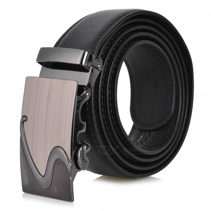 S002 Zinc Alloy Automatic Buckle Second Layer Cow Leather Belt - BlackBelts and Buckles<br>Form  ColorBlackQuantity1 DX.PCM.Model.AttributeModel.UnitShade Of ColorBlackMaterialLeatherGenderMenSuitable forAdultsBelt Length120 DX.PCM.Model.AttributeModel.UnitBelt Width3.5 DX.PCM.Model.AttributeModel.UnitPacking List1 x Belt<br>