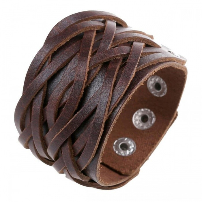 Buy Retro Cool PU Leather Bracelet - Brown with Litecoins with Free Shipping on Gipsybee.com