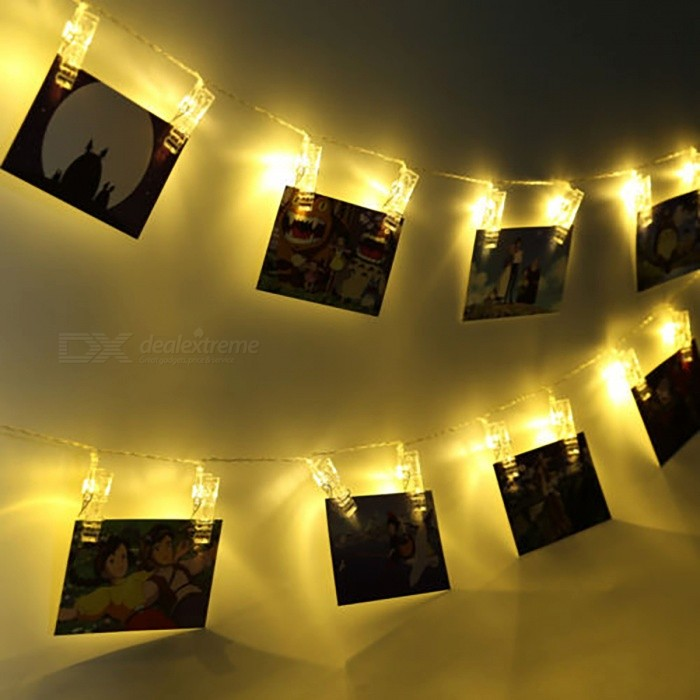 Foto Clip String Light Batteridriven 10 LED Peg Fairy Light