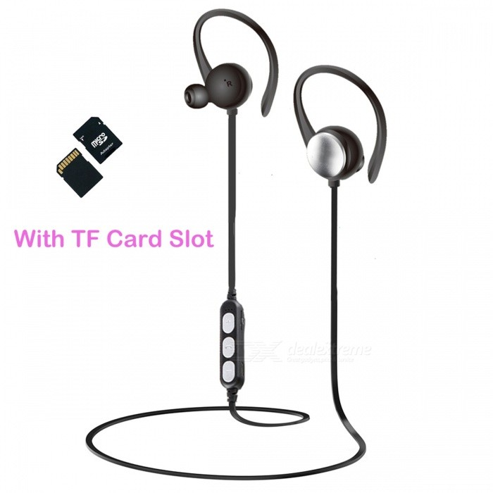Buy Sports Wireless Bluetooth Ear-Hook Earphones with TF Card Slot - Black with Litecoins with Free Shipping on Gipsybee.com