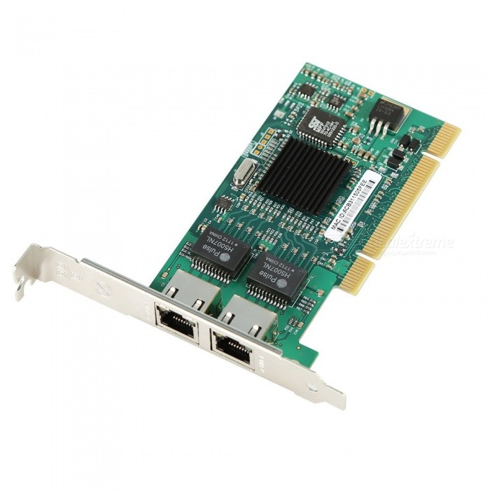 82546 Chip PCI Dual Port RJ45 Ethernet PCI Desktop Adapter CardOther Accessories<br>Form  ColorGreen + Black + Multi-ColoredQuantity1 pieceMaterialPC + ElectronicOther FeaturesSupport system: XP/WIN7/WIN8/WIN8.1/WIN10Packing List1 x Dual-Port Gigabit Ethernet Card<br>