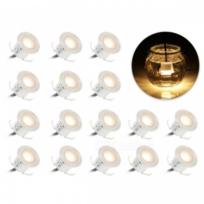 YWXLight 12W Warm White LED Deck Light Waterproof Lamp - 16PCS/EU Plug