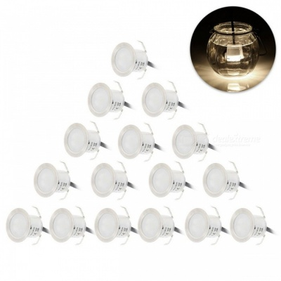 YWXLight 12W White LED Deck Light Waterproof Lamp - 16PCS/EU Plug