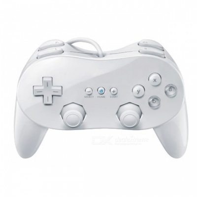 Classic Wired Gamepad Shock Control Joystick for Nintendo Wii - White