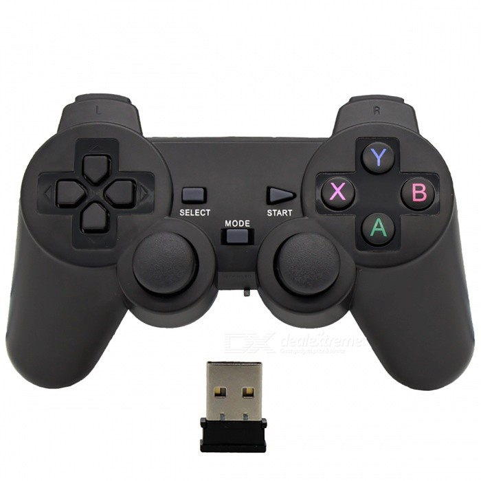Buy Joystick Wireless Receiver Gamepad USB Game Pad Controller - Black with Litecoins with Free Shipping on Gipsybee.com